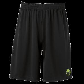 CENTER II Shorts with slip inside negro/verde flash UHLSPORT