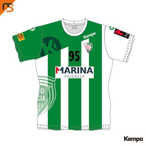 Camiseta MC. Sublimada Kempa, 1ª Equip. verdiblanca CLUB ESPORTIU OAR GRACIA SABAD, Mujer