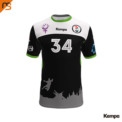 Camiseta MC. Sublimada Kempa, 1ª equip. negra C.E. HANDBOL BCN SANTS, Hombre