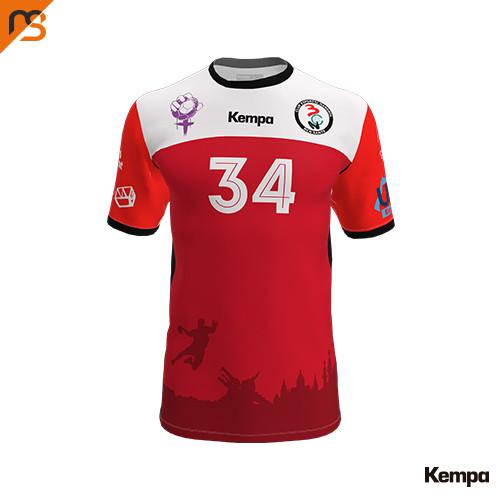 Camiseta MC. Sublimada Kempa, 2ª equip. roja C.E. HANDBOL BCN SANTS, Hombre